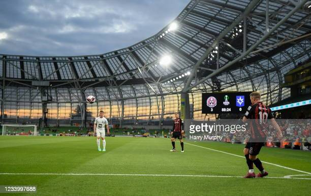 Dublin , Ireland - 15 July 2021; Keith Ward of Bohemians takes a corner kick during the UEFA Europa Conference League first qualifying round second...