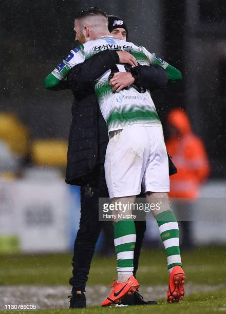 Dublin Ireland 15 March 2019 Jack Byrne of Shamrock Rovers celebrates after scoring his side's third goal with Shamrock Rovers manager Stephen...