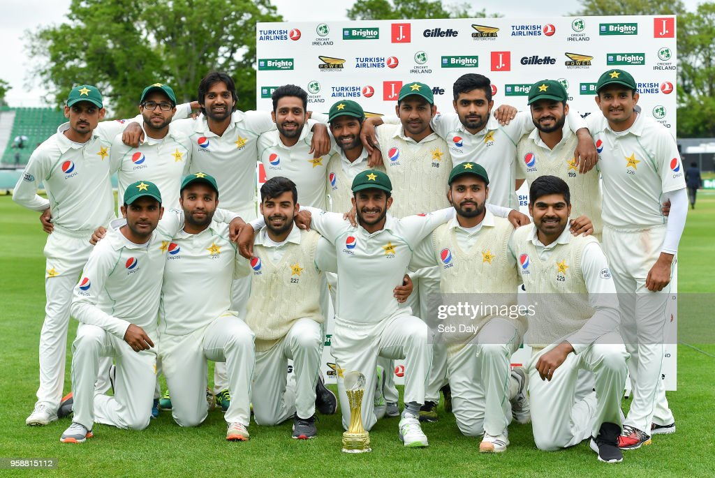Dublin , Ireland - 15 May 2018; Pakistan players with the Brighto trophy following their side's victory on day five of the International Cricket Test match between Ireland and Pakistan at Malahide, in Co. Dublin.
