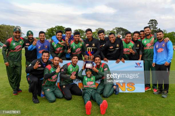 Dublin Ireland 15 May 2019 Bangladesh players celebrate with the TriSeries Trophy following the OneDay International TriSeries Final match between...