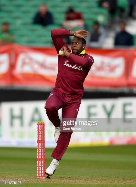 Dublin , Ireland - 15 May 2019; Fabian Allen of West Indies bowls during the One-Day International Tri-Series Final match between West Indies and...