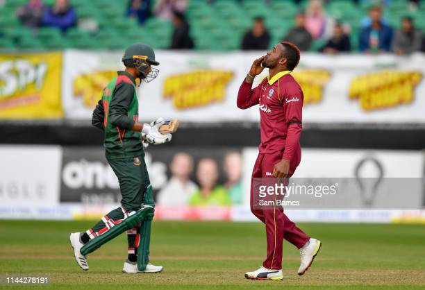 Dublin , Ireland - 15 May 2019; Fabian Allen of West Indies celebrates taking a wicket during the One-Day International Tri-Series Final match...