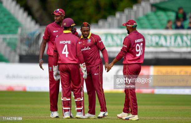 Dublin , Ireland - 15 May 2019; Fabian Allen of West Indies, centre, celebrates with team-mates after taking a wicket during the One-Day...