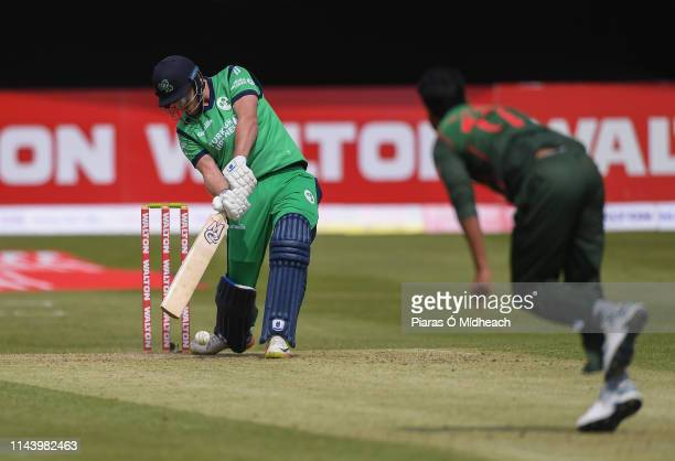 Dublin Ireland 15 May 2019 Mark Adair of Ireland plays a shot during the One Day International match between Ireland and Bangladesh at Clontarf...