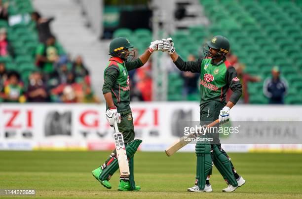 Dublin Ireland 15 May 2019 Mosaddek Hossain left and Mahmudullah of Bangladesh celebrate during the OneDay International TriSeries Final match...