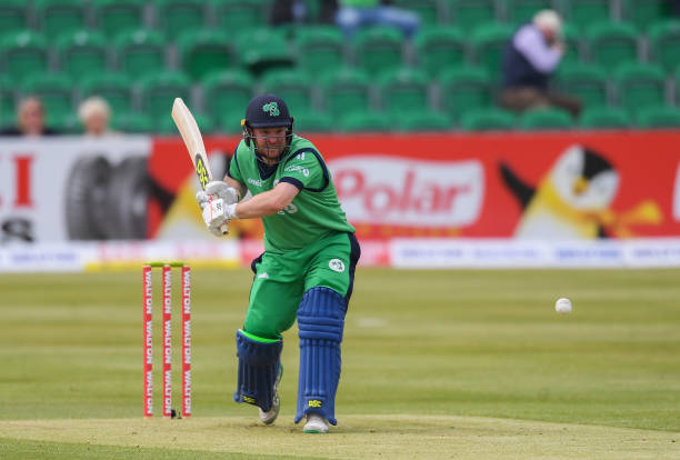 Dublin Ireland 15 May 2019 Paul Stirling of Ireland plays a shot during the One Day International match between Ireland and Bangladesh at Clontarf. He is part of the Ireland Cricket Squad