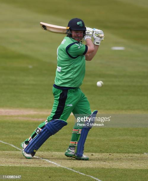 Dublin , Ireland - 15 May 2019; Paul Stirling of Ireland plays a shot during the One Day International match between Ireland and Bangladesh at...
