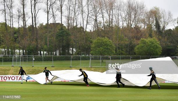 Dublin Ireland 15 May 2019 Rain covers are brought out after rain suspends play during the OneDay International TriSeries Final match between West...
