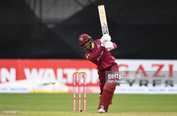 Dublin Ireland 15 May 2019 Shai Hope of West Indies plays a shot during the OneDay International TriSeries Final match between West Indies and...