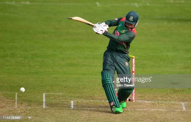 Dublin Ireland 15 May 2019 Soumya Sarkar of Bangladesh plays a shot during the OneDay International TriSeries Final match between West Indies and...
