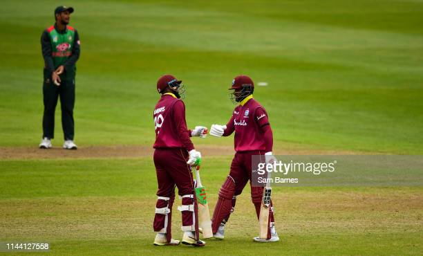 Dublin Ireland 15 May 2019 Sunil Ambris left and Shai Hope of West Indies during the OneDay International TriSeries Final match between West Indies...