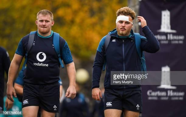 Dublin , Ireland - 15 November 2018; John Ryan and Finlay Bealham arrive at Ireland Rugby squad training at Carton House in Maynooth, Co. Kildare.