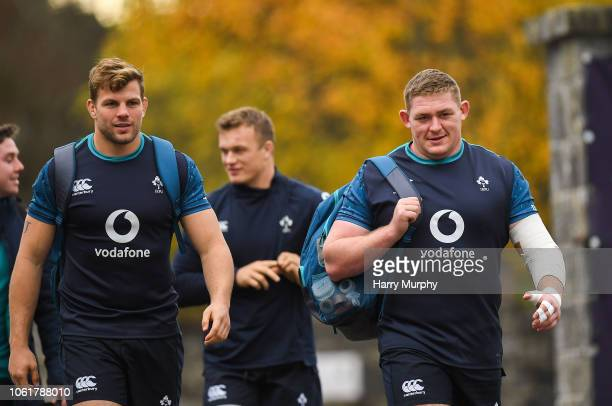 Dublin Ireland 15 November 2018 Jordi Murphy and Tadhg Furlong arrive at Ireland Rugby squad training at Carton House in Maynooth Co Kildare