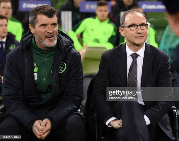 Dublin Ireland 15 November 2018 Republic of Ireland manager Martin O'Neill and assistant manager Roy Keane left prior to the International Friendly...