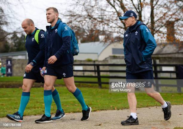 Dublin Ireland 15 November 2018 Rory Best Will Addison and Head coach Joe Schmidt arrive at Ireland Rugby squad training at Carton House in Maynooth...