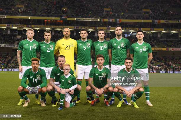 Dublin Ireland 15 November 2018 The Republic of Ireland team back row James McClean Seamus Coleman Darren Randolph John Egan Darragh Lenihan Shane...