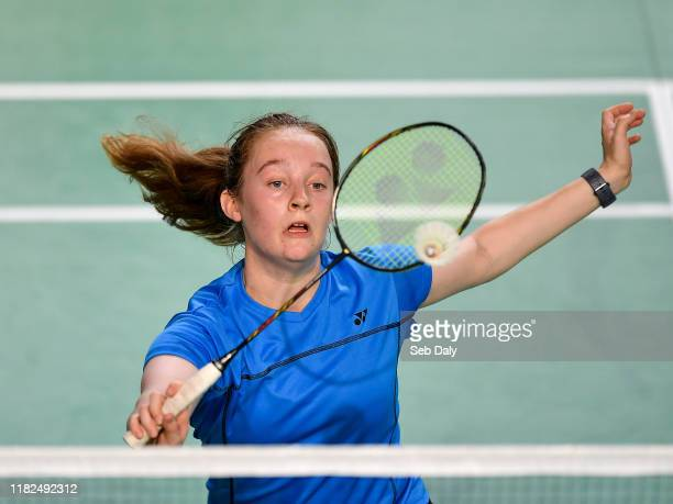 Dublin Ireland 15 November 2019 Kate Frost of Ireland in action against Clara Nistad and Moa Sjoo of Sweden during their women's doubles quarterfinal...