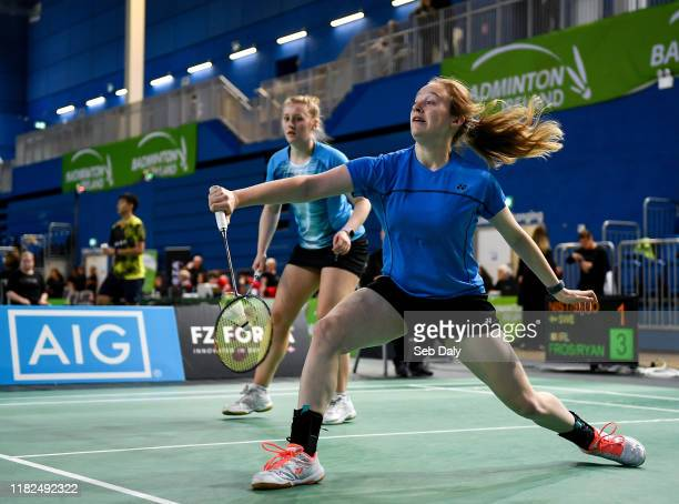 Dublin Ireland 15 November 2019 Kate Frost right and Moya Ryan of Ireland in action against Clara Nistad and Moa Sjoo of Sweden during their women's...