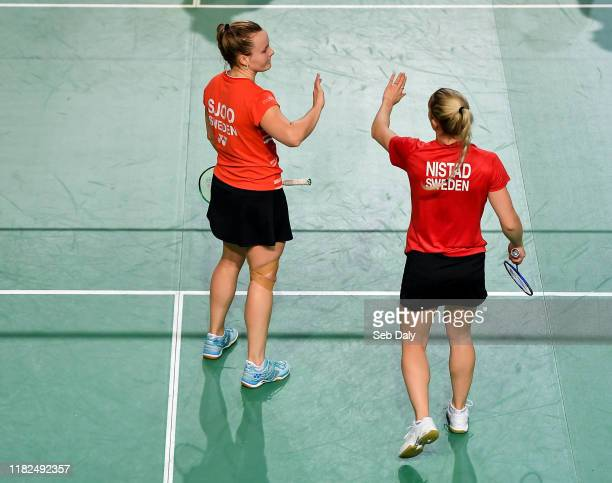 Dublin Ireland 15 November 2019 Moa Sjoo left and Clara Nistad of Sweden congratulate each other following their victory during their women's doubles...
