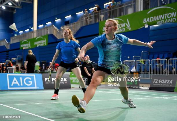 Dublin Ireland 15 November 2019 Moya Ryan right and Kate Frost of Ireland in action against Clara Nistad and Moa Sjoo of Sweden during their women's...