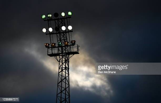 Dublin , Ireland - 15 October 2021; A floodlight in Dalymount Park is seen before the SSE Airtricity League Premier Division match between Bohemians...