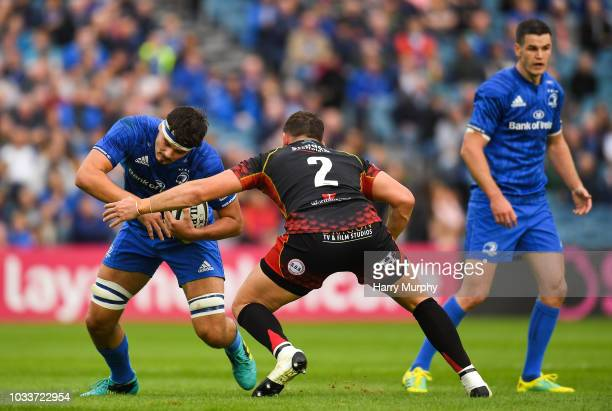 Dublin Ireland 15 September 2018 Max Deegan of Leinster in action against Elliot Dee of Dragons during the Guinness PRO14 Round 3 match between...
