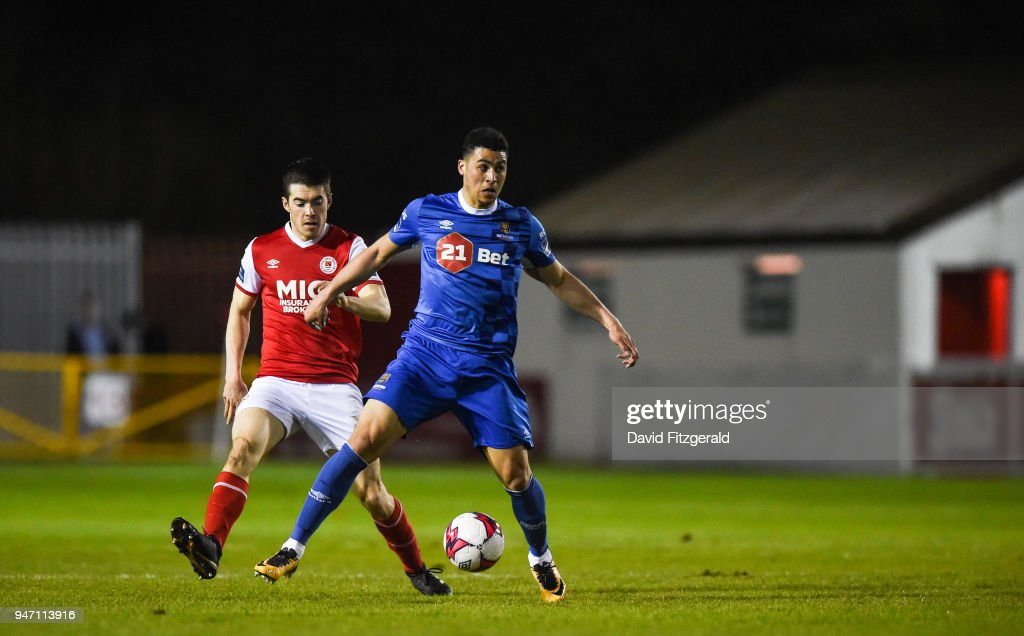 Dublin , Ireland - 16 April 2018; Courtney Duffus of Waterford in action against Lee Desmond of St Patricks Athletic during the SSE Airtricity League Premier Division match between St Patrick's Athletic and Waterford at Richmond Park in Dublin.