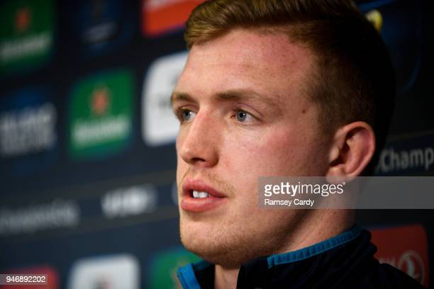 Dublin Ireland 16 April 2018 Dan Leavy during a Leinster Rugby press conference at Leinster Rugby Headquarters in Dublin