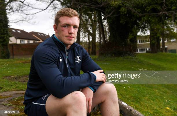 Dublin Ireland 16 April 2018 Dan Leavy poses for a portrait following a Leinster Rugby press conference at Leinster Rugby Headquarters in Dublin