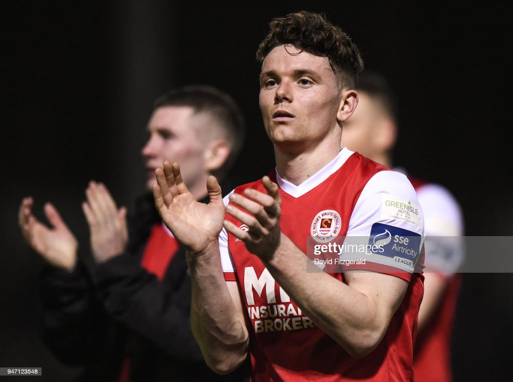 Dublin , Ireland - 16 April 2018; Dean Clarke of St Patrick's Athletic applauds the supporters following the SSE Airtricity League Premier Division match between St Patrick's Athletic and Waterford at Richmond Park in Dublin.