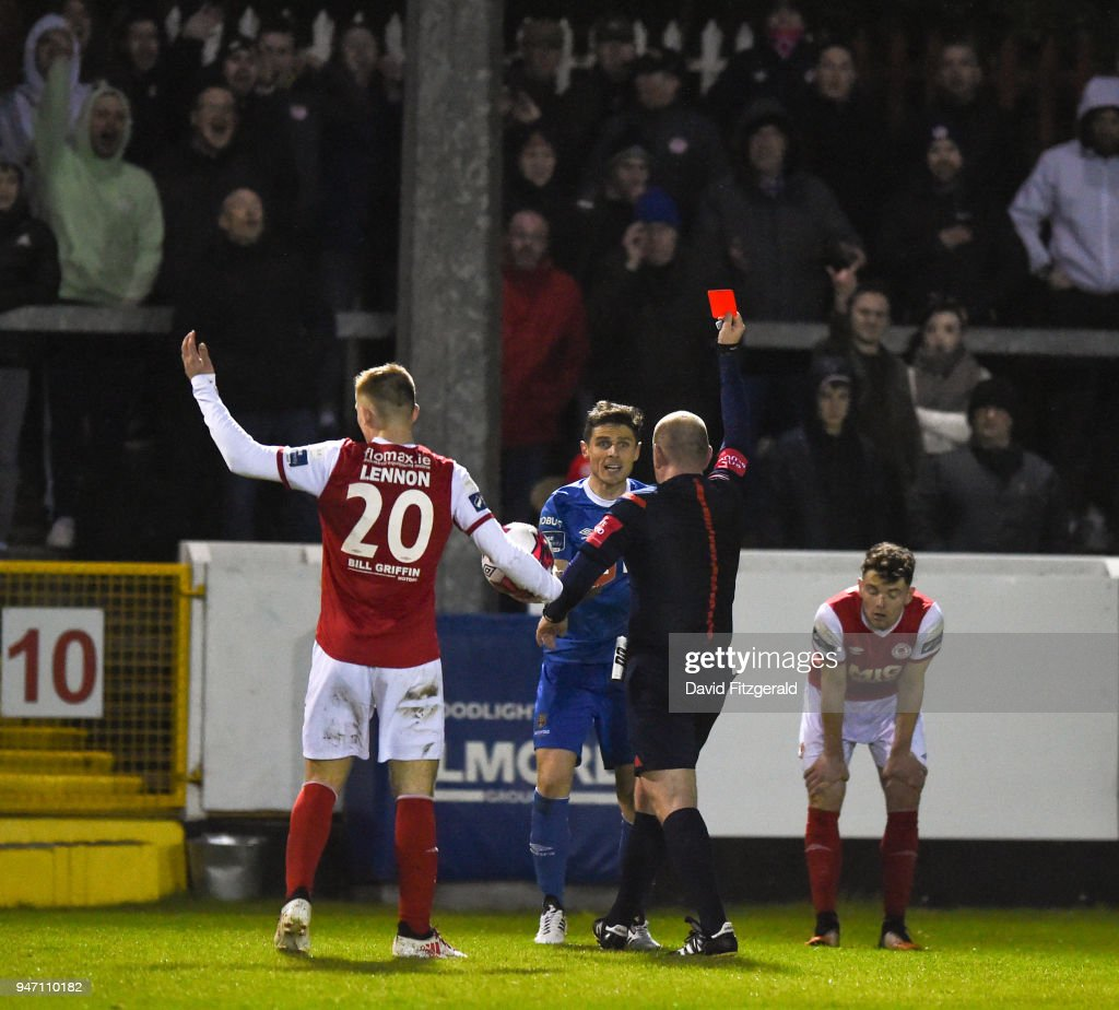 Dublin , Ireland - 16 April 2018; Gavin Holohan of Waterford receives a red card during the SSE Airtricity League Premier Division match between St Patrick's Athletic and Waterford at Richmond Park in Dublin.