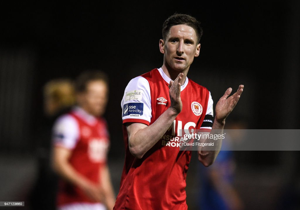 Dublin , Ireland - 16 April 2018; Ian Bermingham of St Patrick's Athletic applauds the supporters following the SSE Airtricity League Premier Division match between St Patrick's Athletic and Waterford at Richmond Park in Dublin.