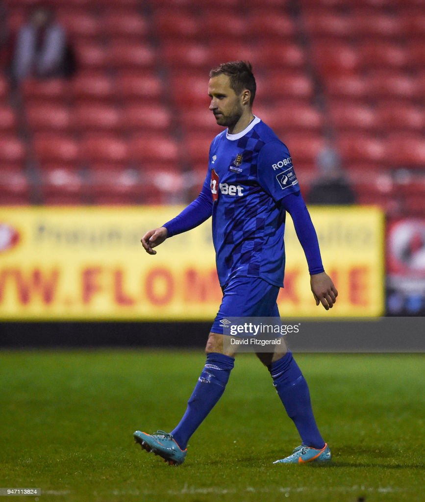 Dublin , Ireland - 16 April 2018; Sander Puri of Waterford makes his way off the pitch after receiving a red card during the SSE Airtricity League Premier Division match between St Patrick's Athletic and Waterford at Richmond Park in Dublin.