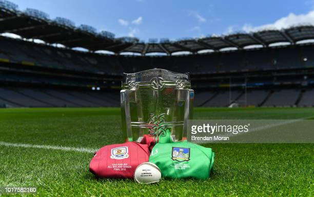Dublin Ireland 16 August 2018 The Liam MacCarthy Cup with Galway and Limerick jerseys prior the GAA Hurling AllIreland Senior Championship Final at...