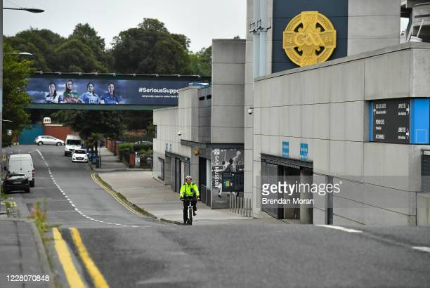 Dublin Ireland 16 August 2020 An empty Jones' Road outside Croke Park Stadium at 1218pm as Community Garda John Redmond of Mountjoy Station patrols...