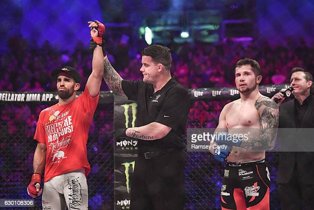 Dublin , Ireland - 16 December 2016; Daniel Weichel is announced victorious over Brian Moore following their featherweight bout at Bellator 169 in...