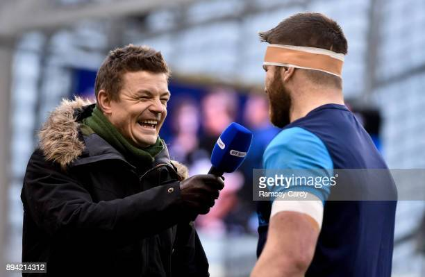 Dublin Ireland 16 December 2017 BT Sport analyst Brian O'Driscoll interviews Sean O'Brien of Leinster ahead of the European Rugby Champions Cup Pool...