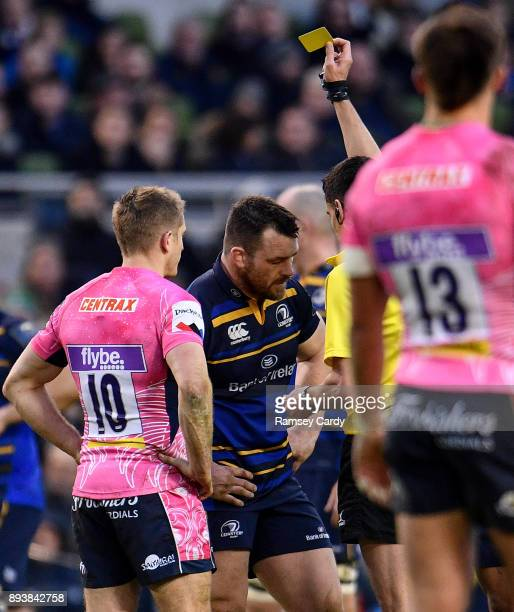 Dublin Ireland 16 December 2017 Cian Healy of Leinster receives a yellow card from Referee Pascal Gauzere during the European Rugby Champions Cup...