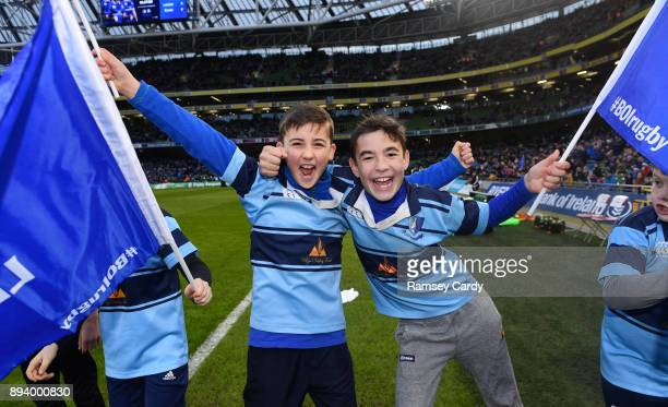 Dublin Ireland 16 December 2017 Flagbearers from Barnhall RFC ahead of the European Rugby Champions Cup Pool 3 Round 4 match between Leinster and...