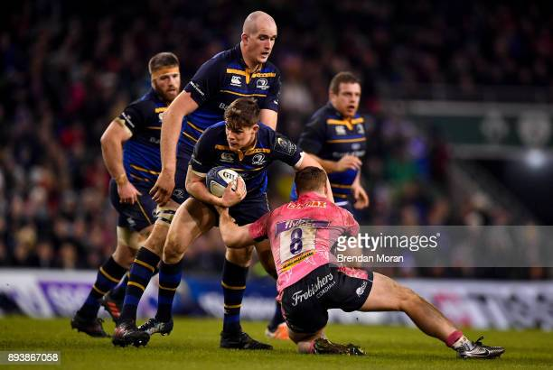 Dublin Ireland 16 December 2017 Garry Ringrose of Leinster is tackled by Sam Simmonds of Exeter Chiefs during the European Rugby Champions Cup Pool 3...