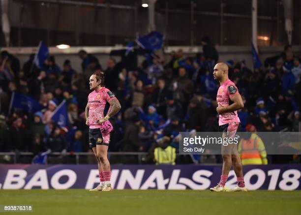 Dublin Ireland 16 December 2017 Jack Nowell left and Olly Woodburn of Exeter Chiefs react following their side's defeat during the European Rugby...