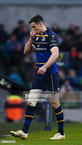 Dublin Ireland 16 December 2017 Jonathan Sexton of Leinster leaves the pitch for a HIA during the European Rugby Champions Cup Pool 3 Round 4 match...