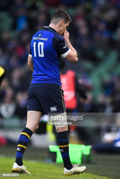Dublin Ireland 16 December 2017 Jonathan Sexton of Leinster leaves the pitch during the European Rugby Champions Cup Pool 3 Round 4 match between...