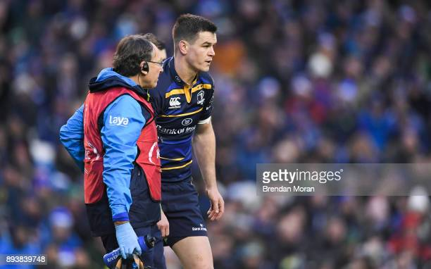 Dublin Ireland 16 December 2017 Jonathan Sexton of Leinster with Leinster team doctor Prof John Ryan before leaving the pitch during the European...