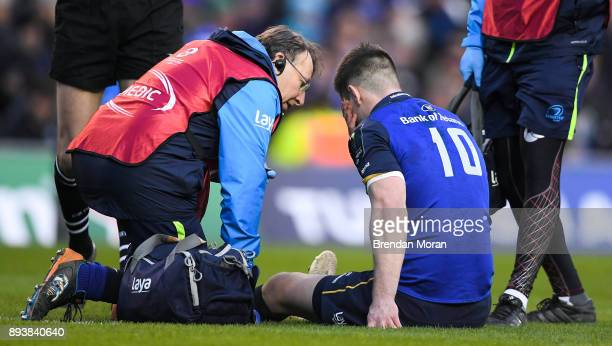 Dublin Ireland 16 December 2017 Jonathan Sexton of Leinster with Leinster team doctor Prof John Ryan during the European Rugby Champions Cup Pool 3...