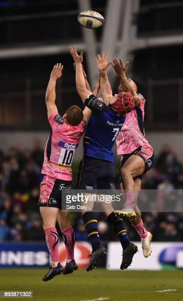 Dublin Ireland 16 December 2017 Josh van der Flier of Leinster in action against Gareth Steenson left and Olly Woodburn of Exeter Chiefs during the...