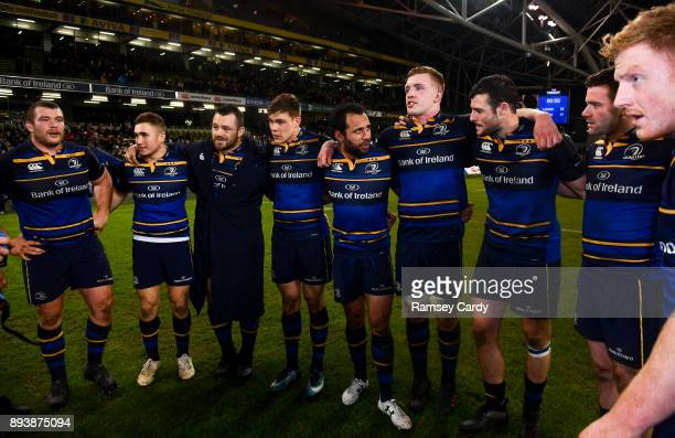 Dublin Ireland 16 December 2017 Leinster players from left Jack McGrath Jordan Larmour Cian Healy Garry Ringrose Isa Nacewa Dan Leavy Robbie Henshaw...