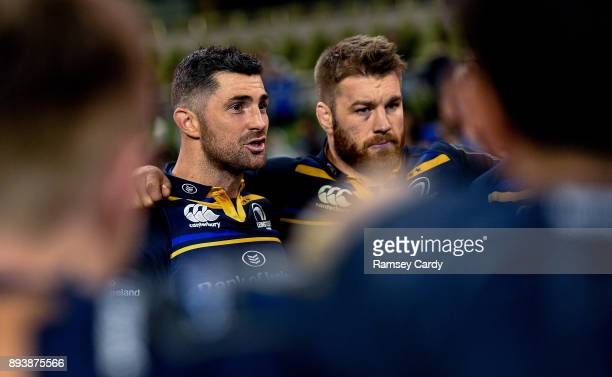 Dublin Ireland 16 December 2017 Leinster's Rob Kearney left and Sean O'Brien following the European Rugby Champions Cup Pool 3 Round 4 match between...
