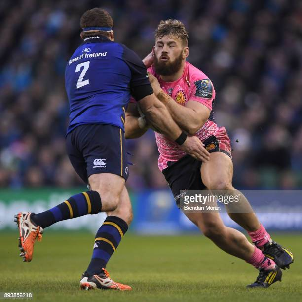 Dublin Ireland 16 December 2017 Luke CowanDickie of Exeter Chiefs is tackled by Sean Cronin of Leinster during the European Rugby Champions Cup Pool...