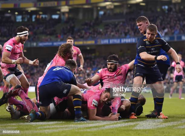 Dublin Ireland 16 December 2017 Luke CowanDickie of Exeter Chiefs hidden goes over to score his side's second try during the European Rugby Champions...